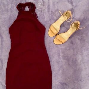 Wine Red Bodycon Cocktail Dress